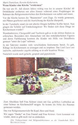 Foto zur Meldung: Religionsunterricht - Besuch der Crivitzer Kirche