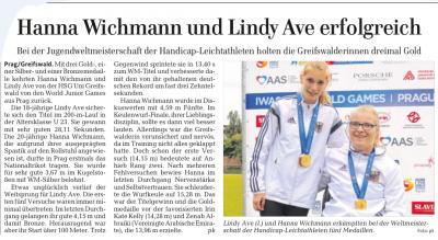 Vorschaubild zur Meldung: Erfolgreiche Siege bei der Jugendweltmeisterschaft der Handicap - Leichtathleten in Prag