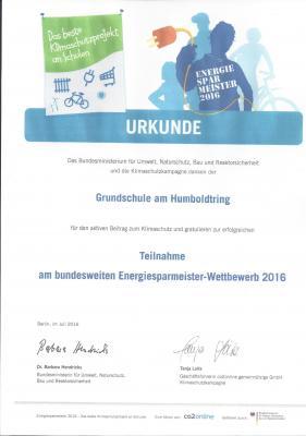 Foto zur Meldung: erfolgreiche Teilnahme am bundesweiten Energiesparmeister-Wettbewerb 2016