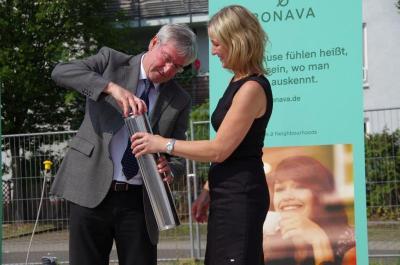 Foto zur Meldung: Grundsteinlegung für letzte Häuser der Gartenstadt Falkenhöh