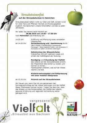 Vorschaubild zur Meldung: 28.08.2016: Streuobstwiesenfest in Hainichen