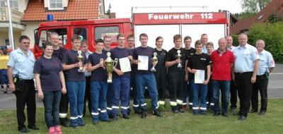 Foto zur Meldung: Jugendleistungsmarsch in Körzendorf Körzendorfer Feuerwehrnachwuchs erfolgreich