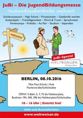 Foto zur Meldung: JuBi - Die JugendBildungsmesse Berlin: 08. Oktober 2016 - 10-16 Uhr
