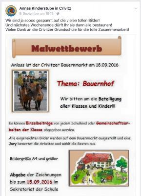 Foto zur Meldung: Malwettbewerb von Annas Kinderstube zum 2. Crivitzer Bauerntag