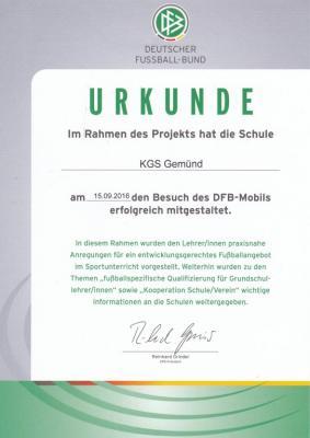 Urkunde DFB-Mobil