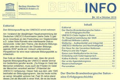 Vorschaubild zur Meldung: BERLIN INFO Nr. 62 erschienen