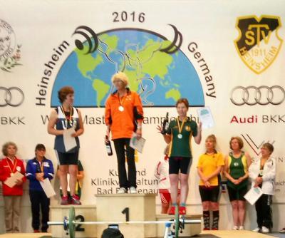 Vorschaubild zur Meldung: Margot Schukies Weltmeisterin mit 6 gültigen Versuchen im Wettbewerb der Gewichtheberinnen