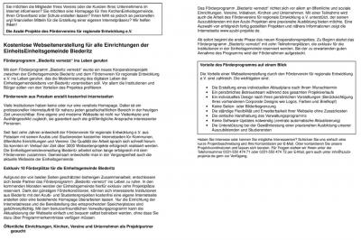Foto zu Meldung: Kostenfreie Webseitenerstellung für die Einrichtungen der Einheitsgemeinde Biederitz