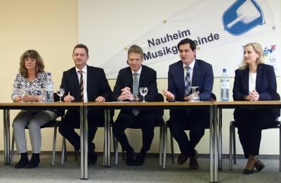 Anette Welp, Carsten Sittmann (Gemeinde Trebur), Dr. Alexander Böhmer (Regierungspräsidium Darmstadt), Jan Fischer, Katrin Feldhausen (Gemeinde Nauheim)