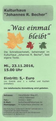 """Foto zur Meldung: """"Was einmal bleibt"""" - Schreibwerkstatt liest am 23.11. eigene Texte"""