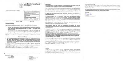 Vorschaubild zur Meldung: Allgemeinverfügung des Landkreises Havelland zur Vermeidung der Einschleppung oder Verschleppung der Geflügelpest durch Wildvögel