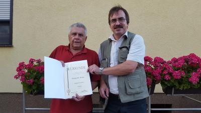 Vorschaubild zur Meldung: Ehrung des Sportfreundes Werner Wunderlich anlässlich seines 75. Geburtstages