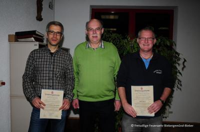 Michael Seitz (Stv. Wehrführer), Manfred Weber (Bürgermeister), Thomas Petrausch (Wehrführer)