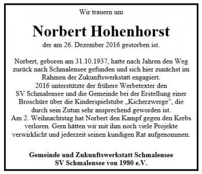 Foto zur Meldung: Trauer um Norbert Hohenhorst