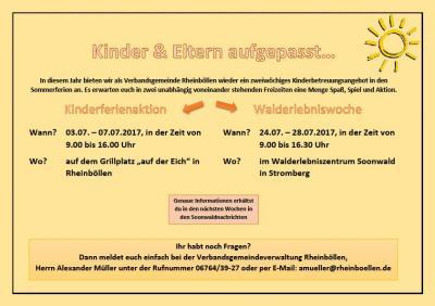 Vorschaubild zur Meldung: Anmeldung Kinderferienaktion VG Rheinböllen