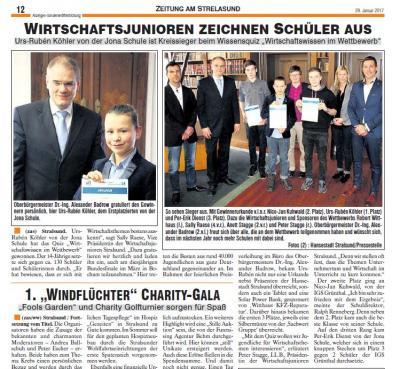 Foto zur Meldung: Nico Jan Kuhwald und die 9b - Preisträger beim Wirtschafts-Wissensquiz