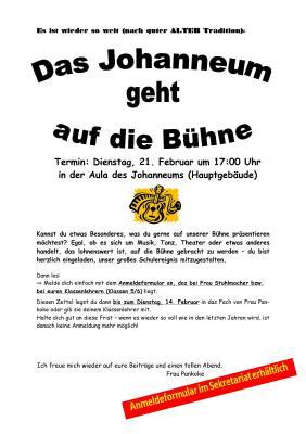 Vorschaubild zur Meldung: Das Johanneum geht auf die Bühne am 21.02.2017