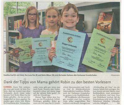 Vorschaubild zur Meldung: Leine-Zeitung: Robin gewinnt Leselöwen-Wettbewerb der Garbsener Grundschulen