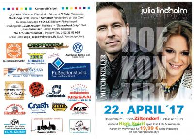 Flyer Hofkonzert am 22. April 2017