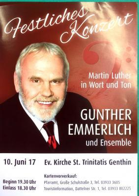Vorschaubild zur Meldung: Ticketverkauf für das Festkonzert mit Gunther Emmerlich in der St. Trinitatis Kirche Genthin am 10.06.2017