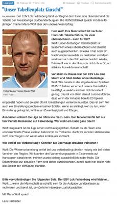 Foto zur Meldung: Trainer Mario Wolf im Rundschau- Interview