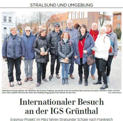 Foto zur Meldung: Internationaler Besuch an der IGS Grünthal