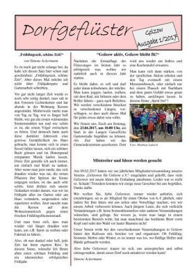 Vorschaubild zur Meldung: Dorfgeflüster Ausgabe 1/2017