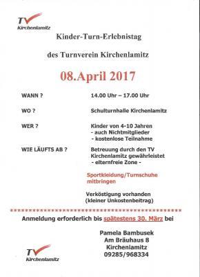 Foto zur Meldung: Einladung zum Kinder-Turn-Erlebnistag am 08.04.2017