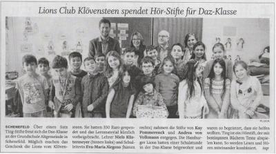 Foto zur Meldung: Lions Club Klövensteen spendet Hör-Stifte für DaZ-Klasse