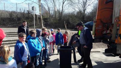 ZAH - Mitarbeiter Stroh und Felkel erklären den Drittklässlern den Müllwagen - Foto: Lampe