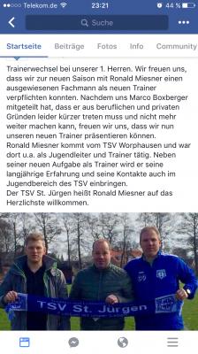 Foto zur Meldung: Trainerwechsel bei unserer 1. Herren