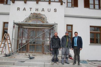 Foto zu Meldung: Energetische Sanierung am Rathaus hat begonnen