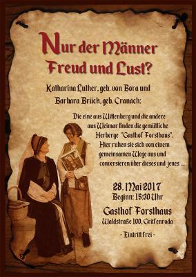"""Vorschaubild zur Meldung: """"Nur der Männer Freud und Lust?"""" - Aufführung im Forsthaus Gräfenroda"""