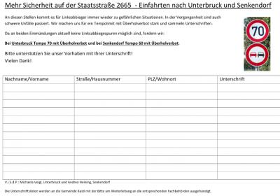 Vorschaubild zur Meldung: Unterschriftenaktion: Mehr Sicherheit auf der Staatsstraße 2665  - Einfahrten nach Unterbruck und Senkendorf