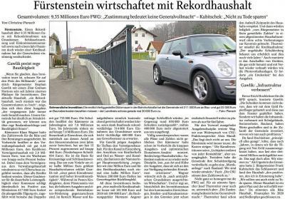 Vorschaubild zur Meldung: Fürstenstein wirtschaftet mit Rekordhaushalt