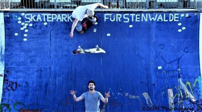 Tobias Frank und Hendrick Hammer auf der Half Pipe