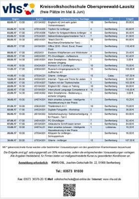 Vorschaubild zur Meldung: Frei Kurse im Mai & Juni 2017
