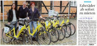 Vorschaubild zur Meldung: Fahrradverleih-Service der Touristen-Info Winsener Marsch