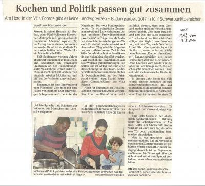 Foto zur Meldung: Kochen und Politik passen... Emmanuel in der MAZ