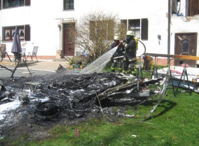 Foto zu Meldung: Brand Wohnwagen Bibersbach