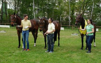 Siegerfamilie der Schau: Züchter und Besitzer Achim und Walter Schacke