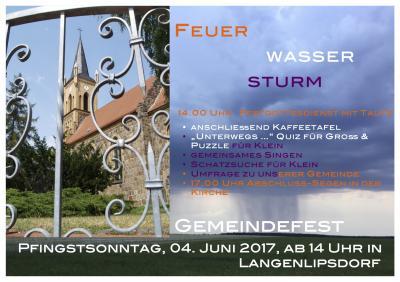 Feuer, Wasser, Sturm – Gemeindefest zu Pfingsten