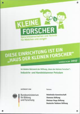 """Foto zur Meldung: 2. Zertifizierung zum """"Haus der kleinen Forscher"""""""