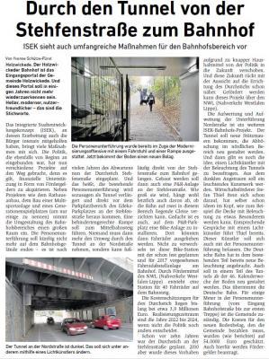 Foto zu Meldung: Durch den Tunnel von der Stehfenstraße zum Bahnhof