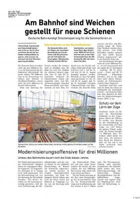 Foto zu Meldung: Am Bahnhof sind Weichen gestellt für neue Schienen