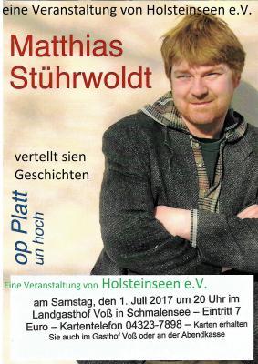 Foto zur Meldung: Holsteinseen präsentiert: Matthias Stührwoldt am 1. Juli im Gasthof Voß
