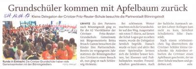 Foto zur Meldung: Apfelbaum aus Bönningstedt von unseren Schülern gepflanzt