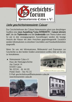 """Foto zur Meldung: """"Calau INTERAKTIV - Calauer erinnern sich"""" Bildmaterial gesucht"""