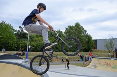 """Kevin Behrendt (14) aus Falkensee beim BMX-Contest """"Nauen auf Rollen 2017"""""""