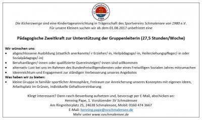 Foto zur Meldung: Stellenangebot des SV Schmalensee - pädagogische Zweitkraft